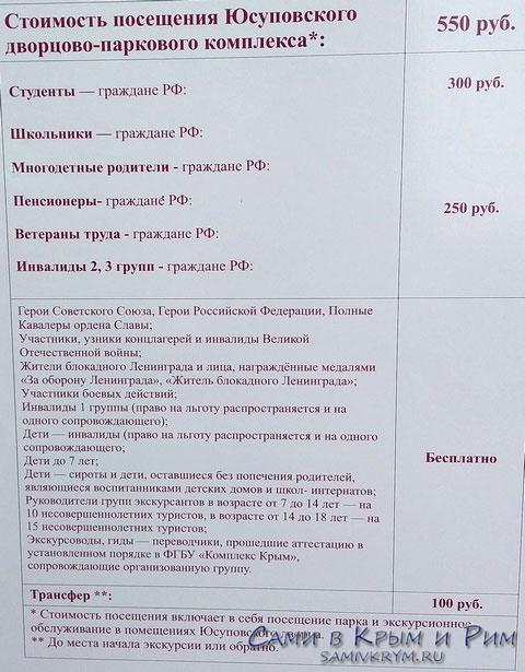 Стоимость билетов в Юсуповский дворец