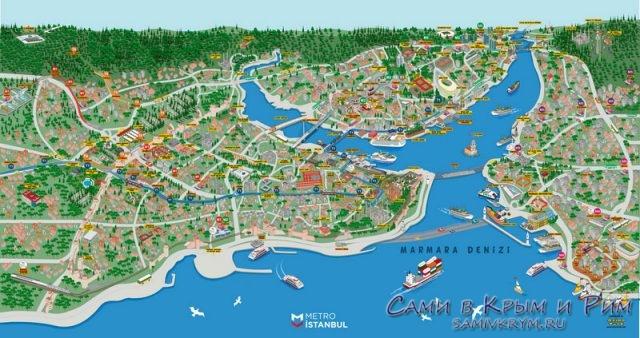 Карта Стамбула Европа и Азия