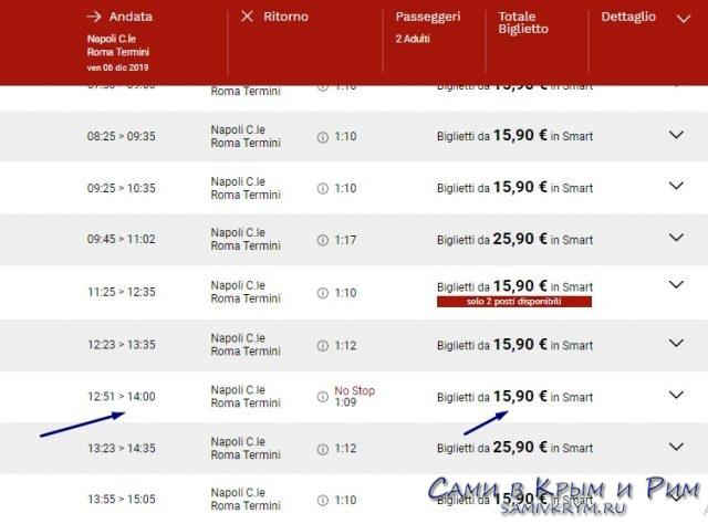 Билеты Неаполь - Рим
