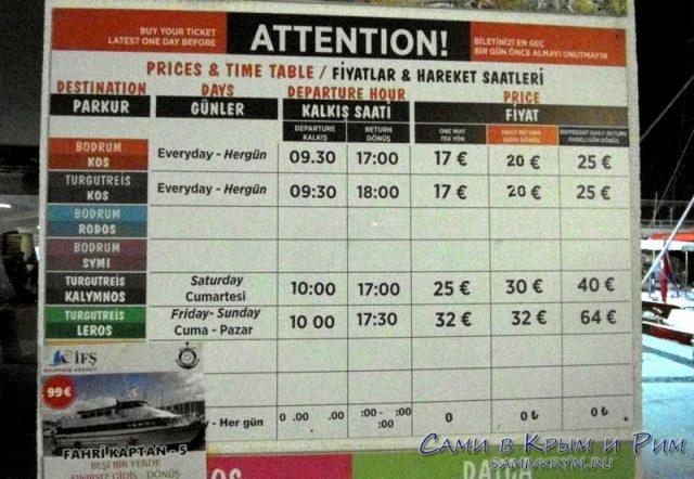 Расписание паромов на греческие острова
