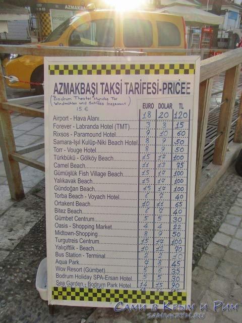 Расценки такси в Бодруме