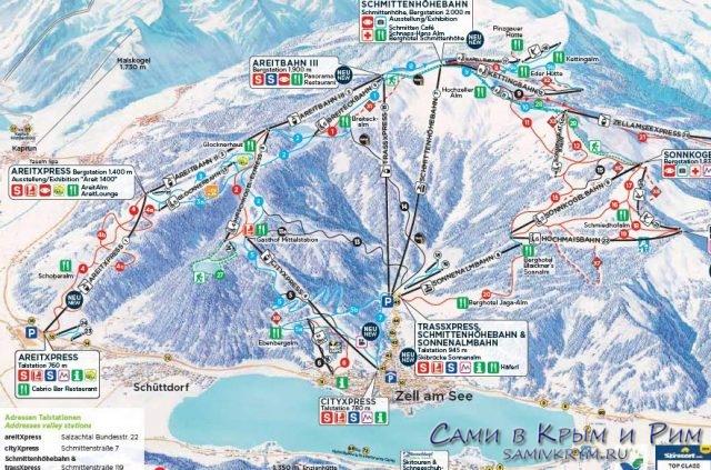 Карта-горнолыжного-курорта-Цель-ам-Зее