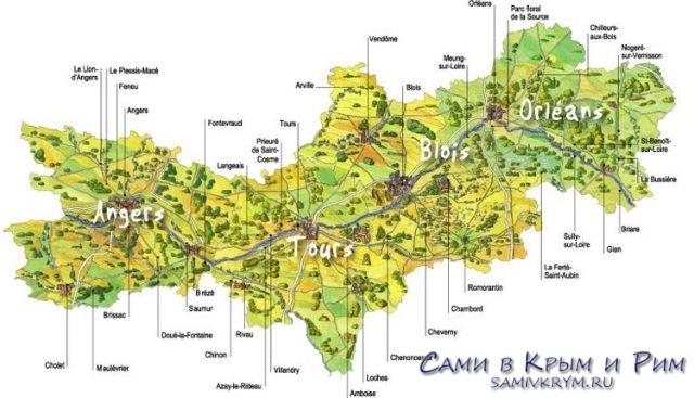 Карта замков долины Луары