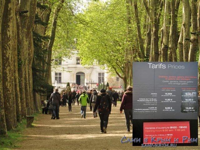 Парк возле замка Шенонсо и цена билета