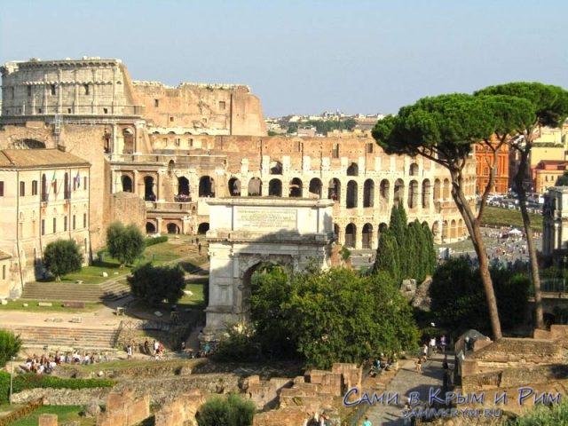 Вид на Колизей с Палатинского холма