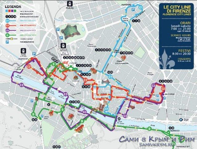 Карта автобусных маршрутов Флоренции
