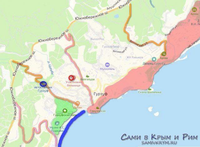 Гурзуф на карте