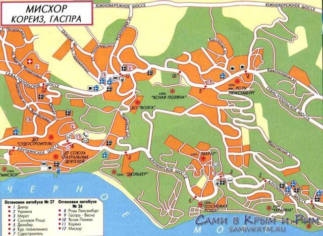 Гаспра-и-Кореиз-карта