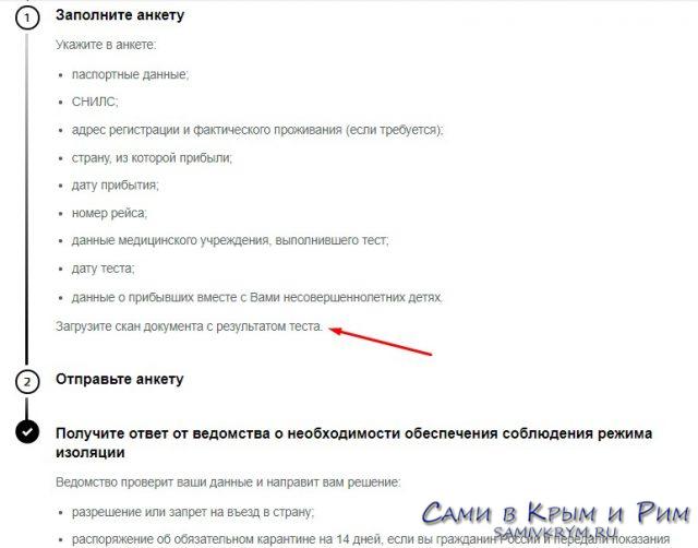 Анкета по прилету в Россию