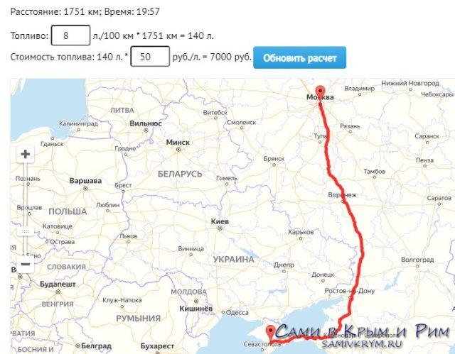 Расстояние Москва - Симферополь