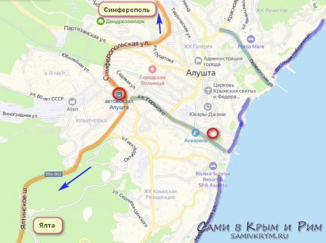 Алушта на карте Крыма