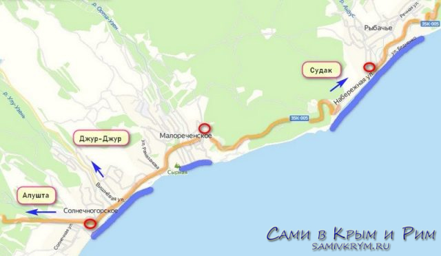 Солнечногорское на карте Крыма