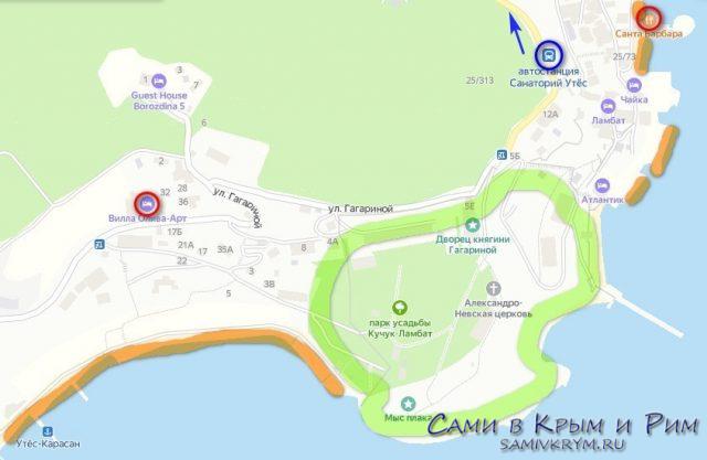 Утес на карте Крыма