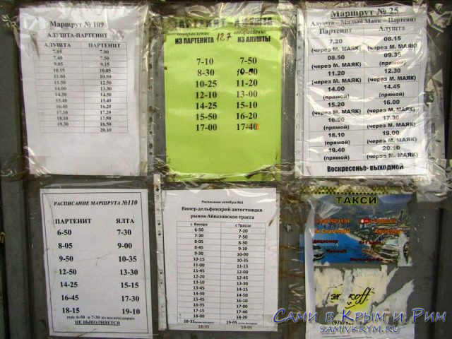 Расписание автобусов Партенита