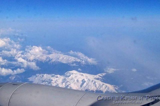 Кавказский хребет из самолета